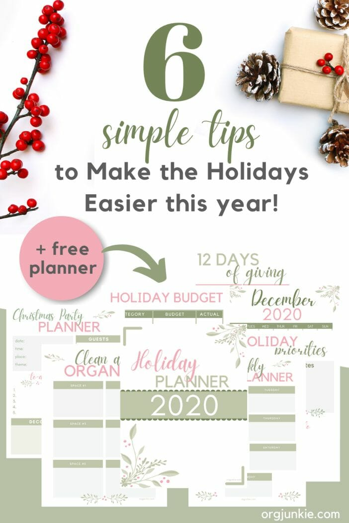 Free Printable Holiday Planner to Help You Stay Organized This Season at I'm an Organizing Junkie blog