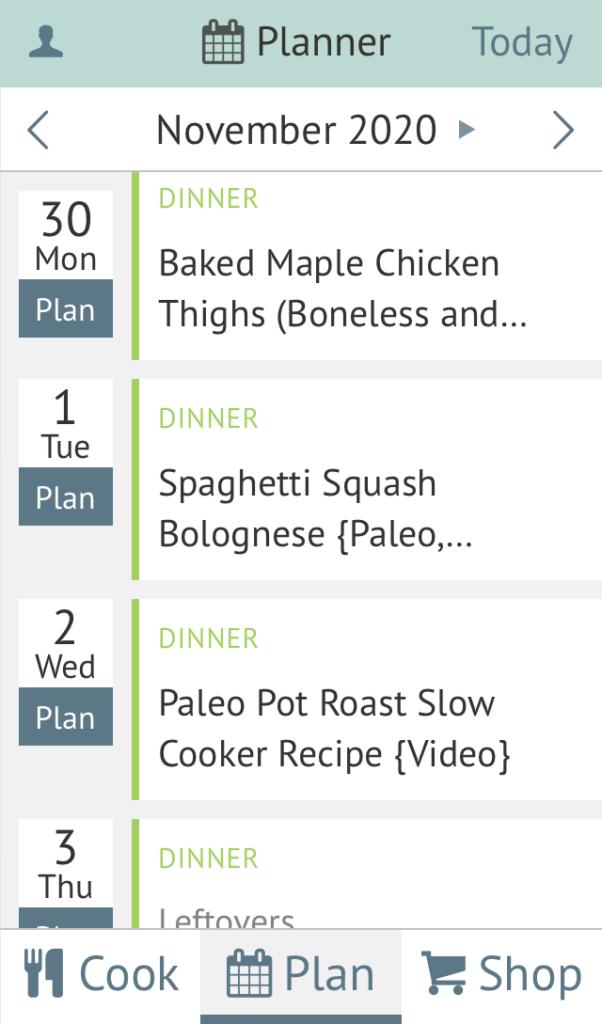 Plan to Eat menu planner
