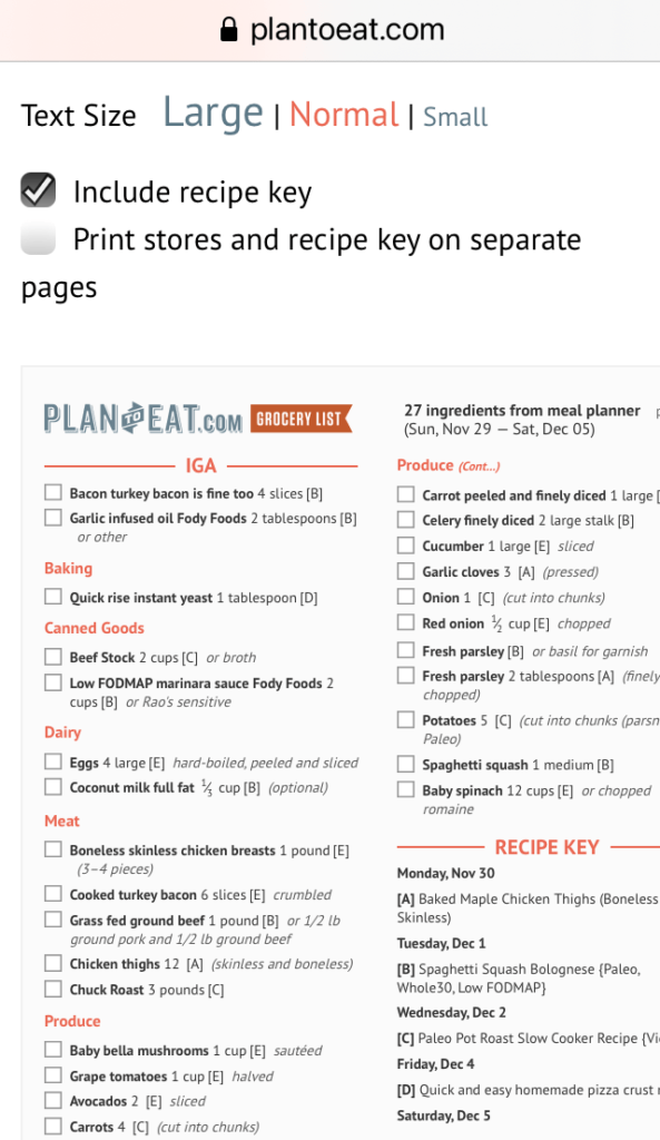 Plan to Eat shopping list