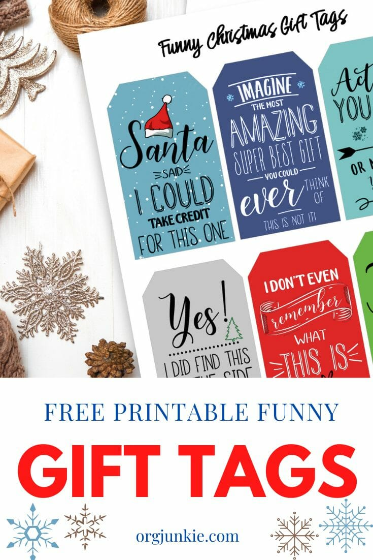 Free Printable Funny Christmas Gift Tags at I'm an Organizing Junkie