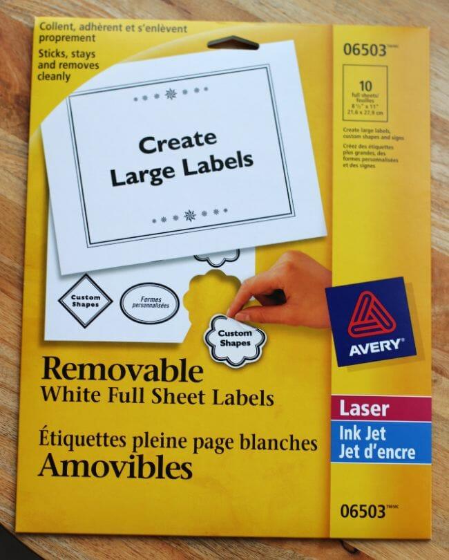 Avery full sheet labels
