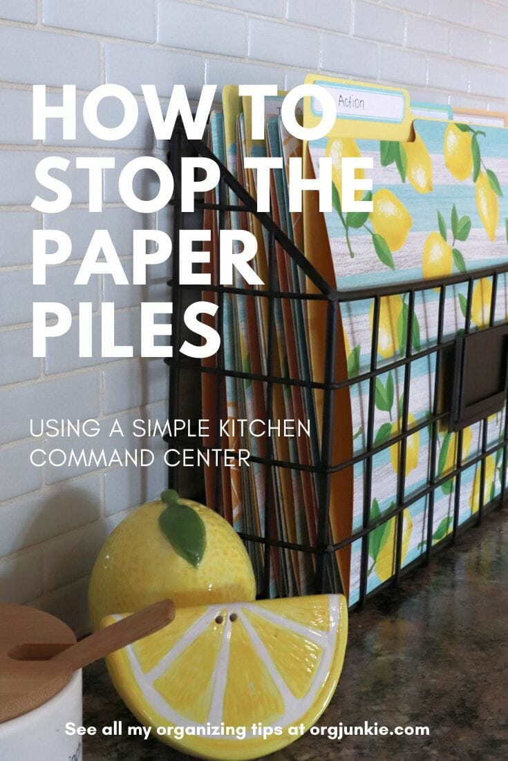 Simple Kitchen Command Center to Help You Process Those Paper Piles at I'm an Organizing Junkie blog