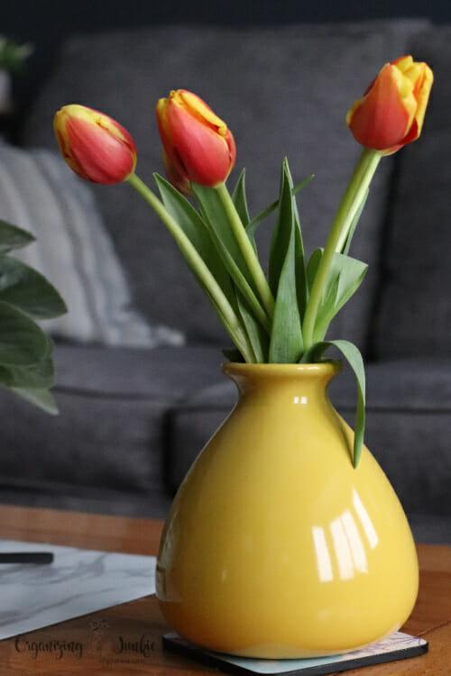 pretty vase of tulips