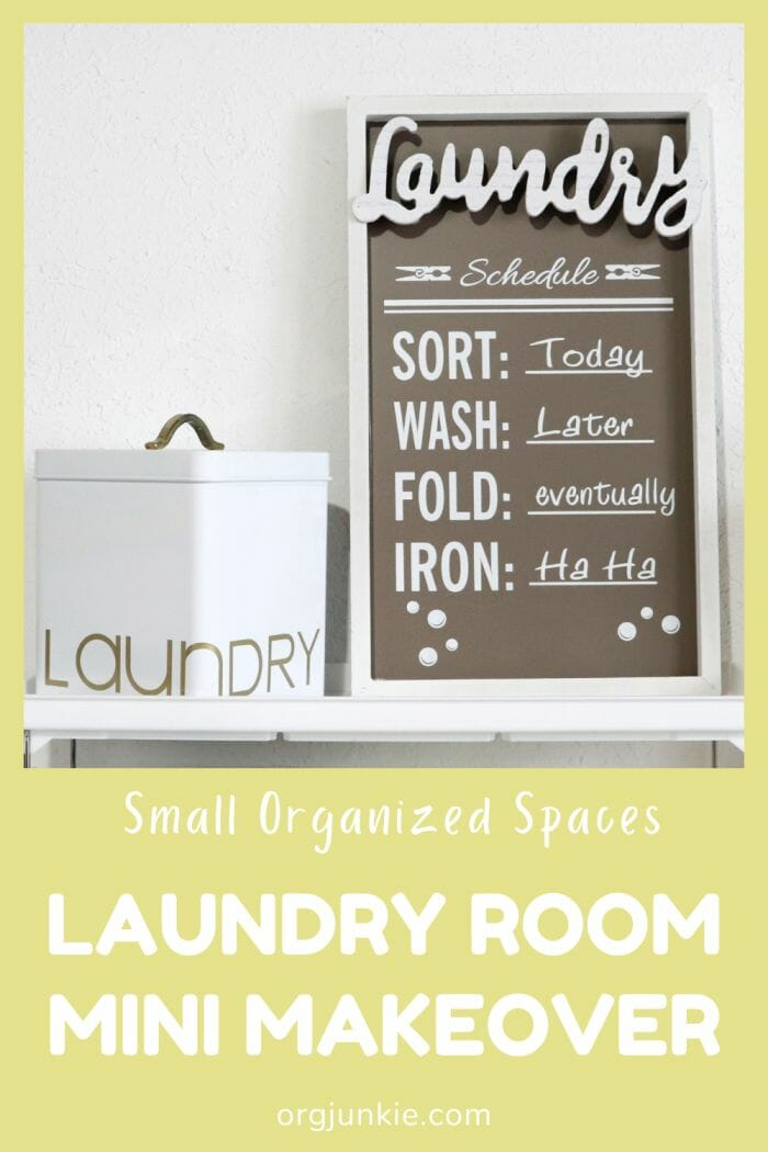 Small Organized Spaces: Inexpensive Mini Laundry Room Makeover at I'm an Organizing Junkie blog