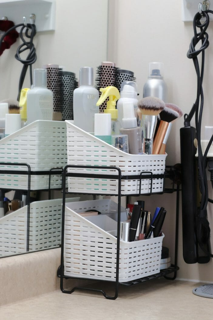 Small Organized Spaces ~ Bathroom Organizer for Hair & Makeup Products