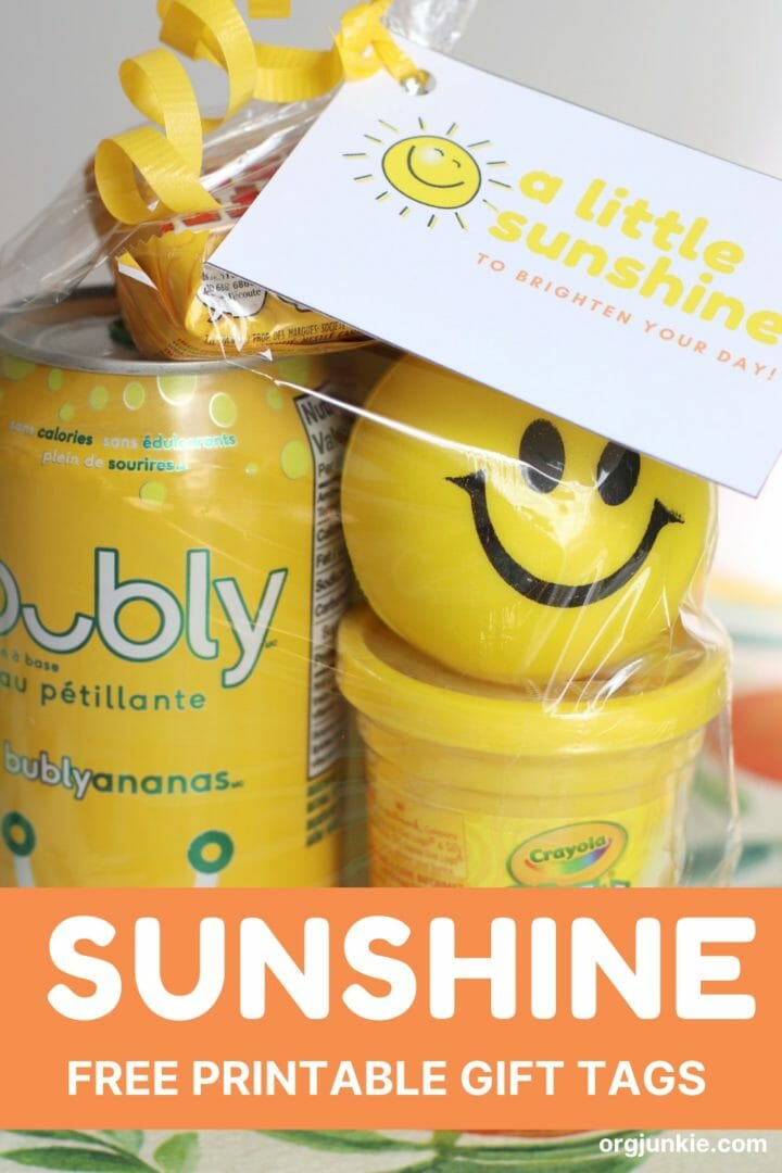 A Little Sunshine to Brighten Your Day ~ Free Printable Sunshine Gift Tags at I'm an Organizing Junkie blog