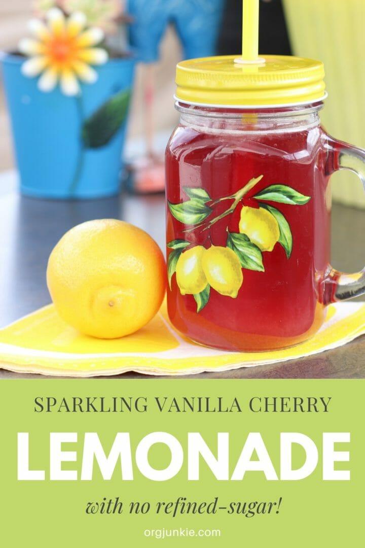Delicious Sparkling Vanilla Cherry Sugar-Free Lemonade at I'm an Organizing Junkie blog