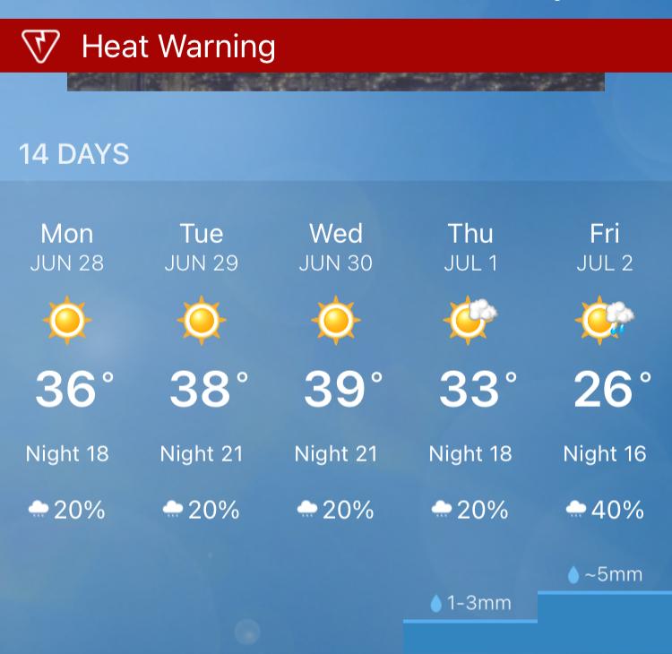 northern Alberta Canada heat warning