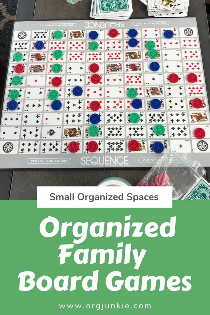 Small Organized Spaces ~ Organized Family Board Games at I'm an Organizing Junkie blog