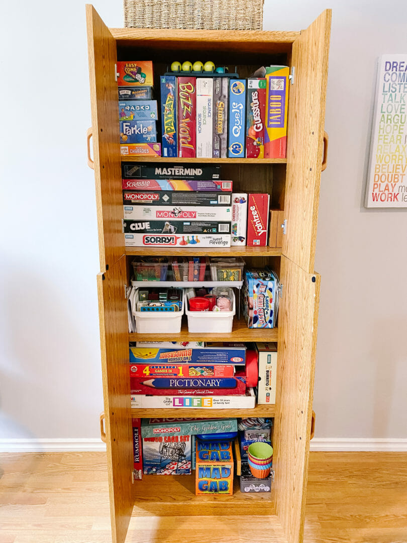board games cabinet after