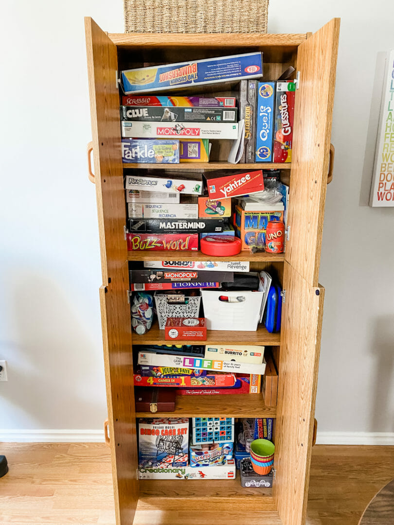 board games cabinet before